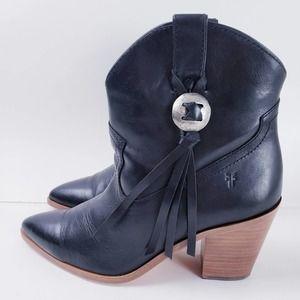 Frye NEW Faye Black Cowboy Concho Short Boots 9.5